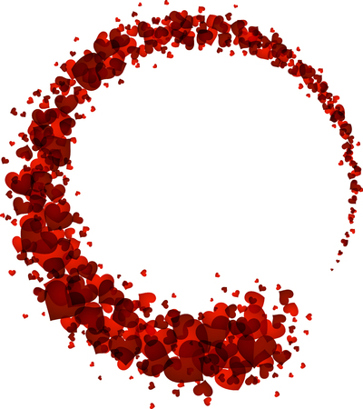 amur: Abstract card with circle of red hearts. Vector illustration.