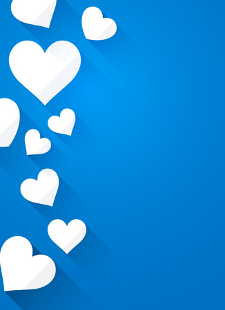 amur: Valentines blue background with white hearts. Vector paper illustration. Illustration