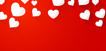 tender passion: Valentines red background with white hearts. Vector paper illustration.