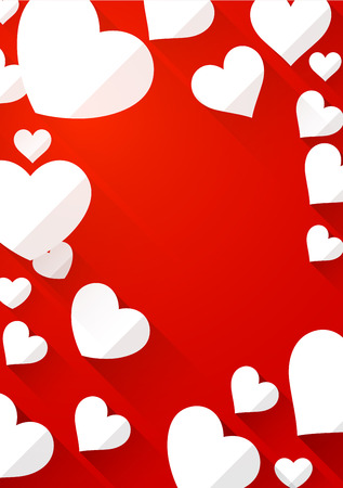 amur: Valentines red background with white hearts. Vector paper illustration.