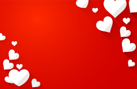 amur: Valentine red background with white hearts. Vector paper illustration. Illustration
