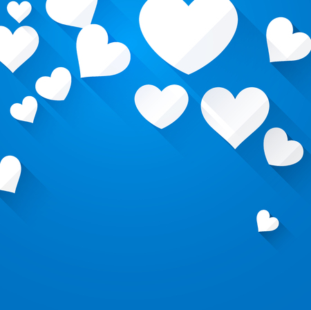 amur: Valentine blue background with white hearts. Vector paper illustration.