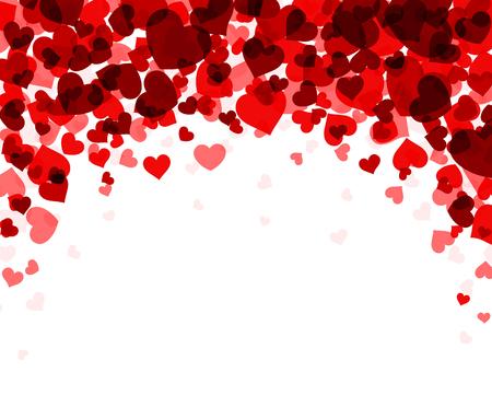fondo de San Valentín romántico con los corazones rojos. Vector ilustración de papel.