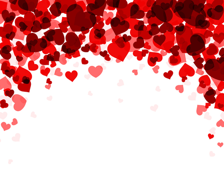 Romantic valentine background with red hearts. Vector paper illustration. Stock Illustratie