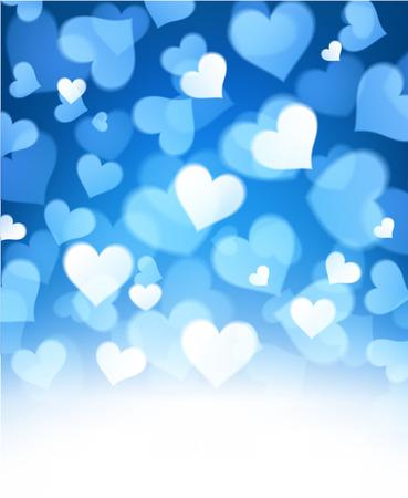 corazones azules: Valentín resumen de antecedentes azul con corazones. Ilustración del vector. Vectores