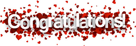 congratulation: Congratulations 3d sign with red hearts. Vector paper illustration.