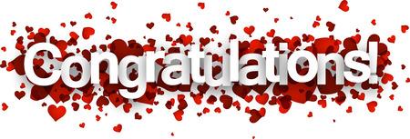 felicitaciones: Felicidades muestra 3d con los corazones rojos. Vector ilustración de papel.