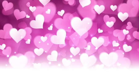 amur: Valentines violet background with hearts. Vector paper illustration. Illustration