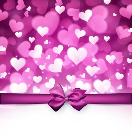 violet: Valentines violet background with bow. Vector paper illustration.