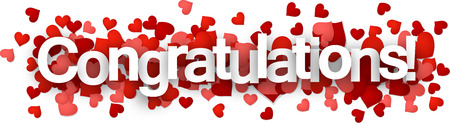 congratulations text: Congratulations 3d sign with hearts. Vector paper illustration.