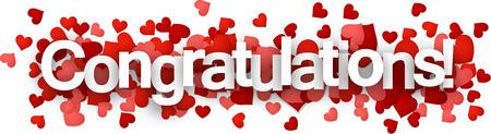 Félicitations 3d signe avec des coeurs. Vector papier illustration.