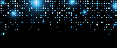 Black abstract background with blue dots. Vector illustration.