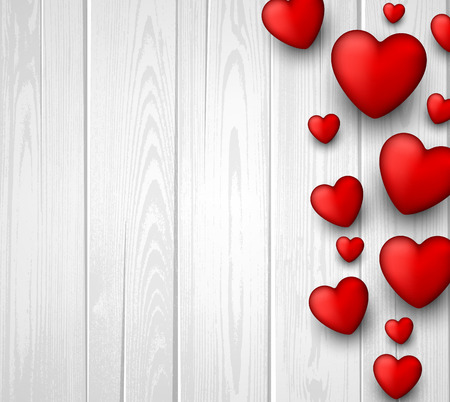 valentine card: Wooden valentine background with 3d hearts. Vector paper illustration.