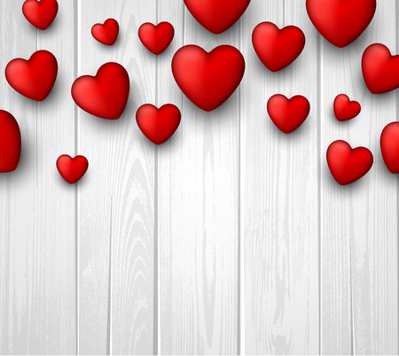 valentines background: Wooden valentines background with 3d hearts. Vector paper illustration. Illustration