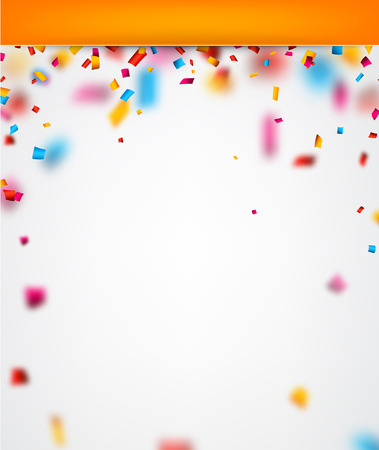 Abstract festive background with colour confetti. Vector paper illustration.