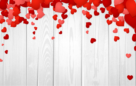 Wooden valentine's background with hearts. Vector paper illustration.
