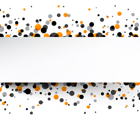 gray strip: White background with colour drops. Vector paper illustration.