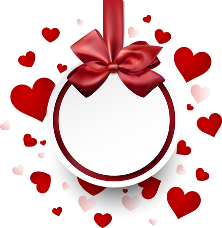 valentine card: Romantic valentine card with hearts and bow. Vector illustration.