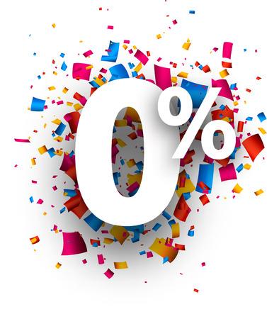 Zero percent 0% sign with colour confetti. Vector illustration.