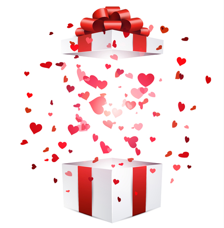gift paper: Valentine white background with gift and hearts. Vector paper illustration.