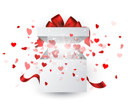 valentines background: Valentines white background with gift and hearts. Vector paper illustration.