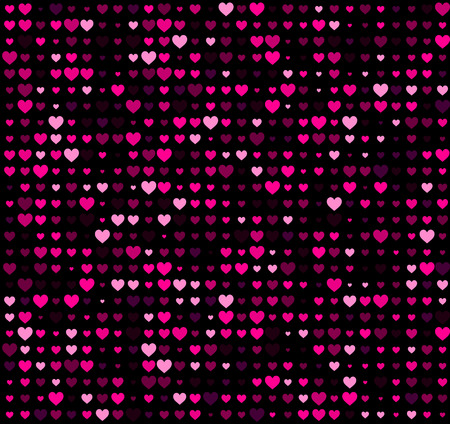 pink and black: Valentine black background with hearts. Vector paper illustration.