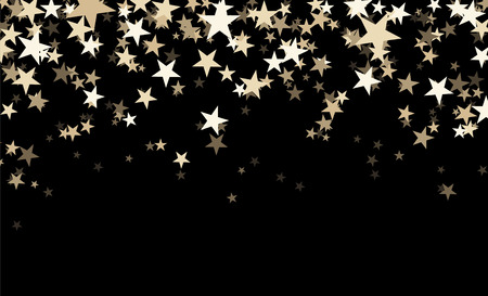 Black abstract background with stars confetti. Vector illustration.