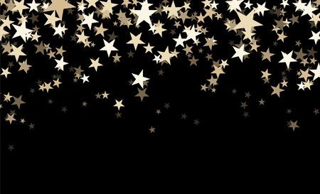 Czarne tło abstrakcyjne z gwiazdami konfetti. ilustracji wektorowych.