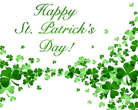 three leaved: St. Patricks day card with text. Vector paper illustration. Illustration