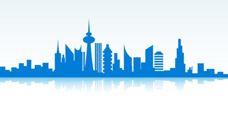 skyline city: Blue cityscape banner on white background. Vector paper illustration.