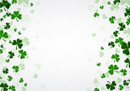 St. Patrick's Day achtergrond met klavers. Vector papier illustratie.