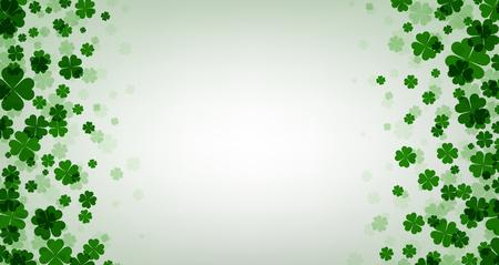four leaved: St. Patricks day background with shamrocks. Vector paper illustration.