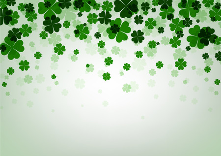 four leaved: St. Patricks day background with shamrocks. Vector paper illustration.