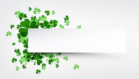 three leaved: St. Patricks day banner with shamrocks. Vector paper illustration.