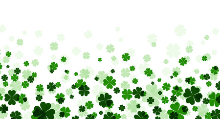 four leaved: St. Patricks day banner with shamrocks. Vector paper illustration.