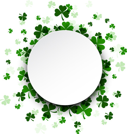 three leaved: St. Patricks day card with shamrocks. Vector paper illustration. Illustration