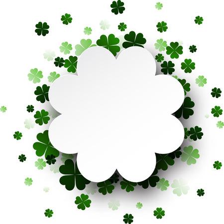 four leaved: St. Patricks day card with shamrocks. Vector paper illustration. Illustration