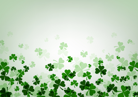 three leaved: St. Patricks day background with shamrocks. Vector paper illustration.