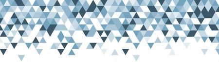 Biała streszczenie transparent z niebieskimi trójkątami. Ilustracji wektorowych.