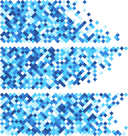 rhombus: White abstract banners set with blue rhombus. Vector illustration. Illustration