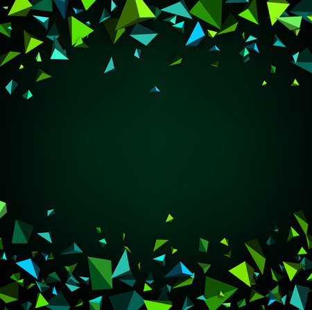 headpiece: Green abstract background with 3d figures. Vector illustration.