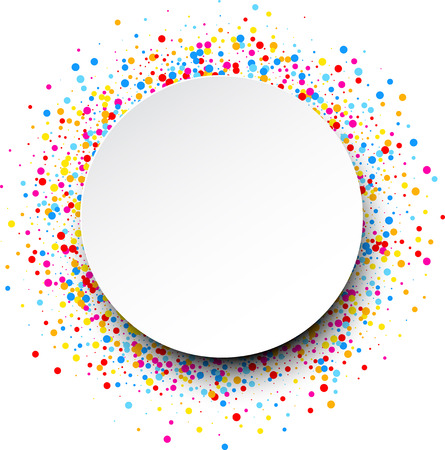 color drops: White round background with color drops. Vector illustration.