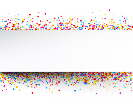 color drops: White banner with color drops. Vector illustration.