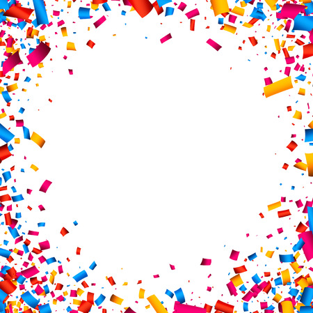 White festive background with color confetti. Vector illustration. Иллюстрация