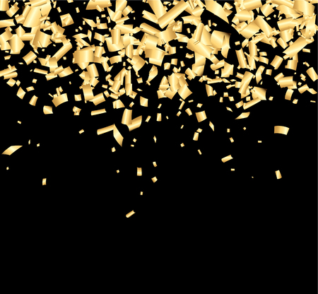 contrasty: Black background with golden confetti. Vector illustration. Illustration