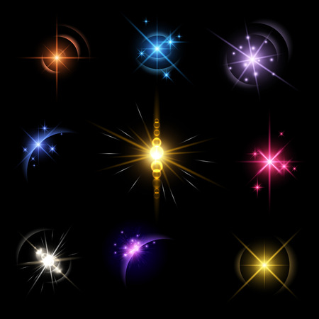 pink skies: Stars and planet set isolated on black background. Vector illustration.