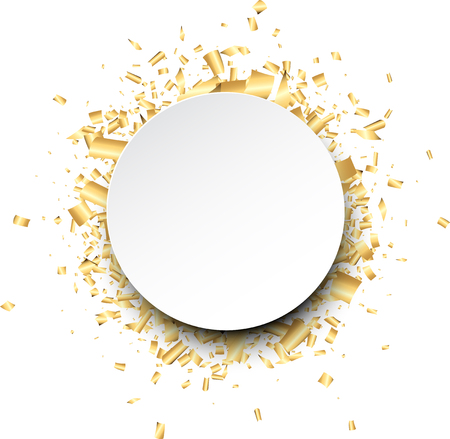 White round background with golden confetti. Vector illustration.