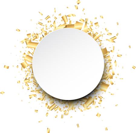round: White round background with golden confetti. Vector illustration.
