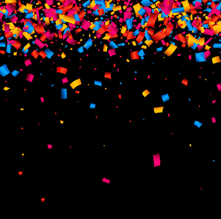 vinous: Black festive background with color confetti. Vector illustration.