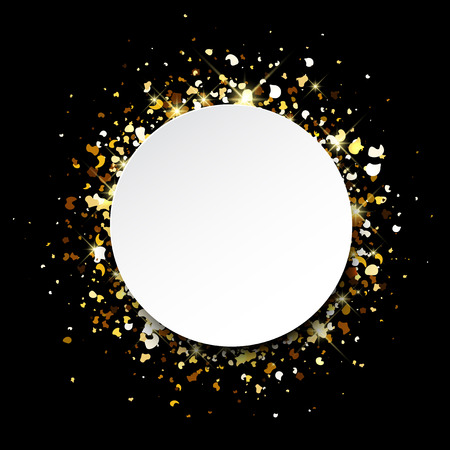 contrasty: Black abstract background with golden confetti. Vector illustration.